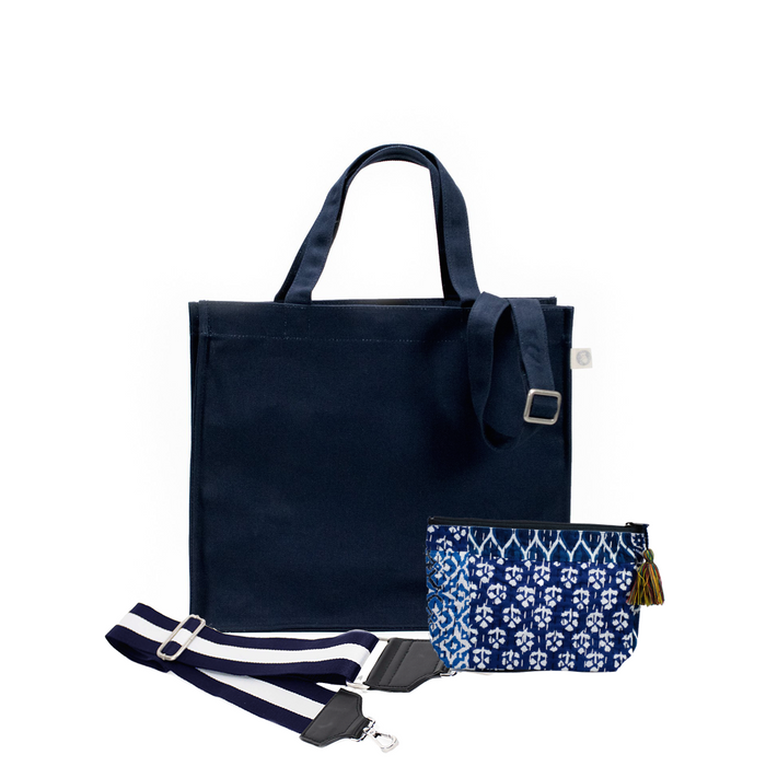 Navy Magazine Bag with Navy/White Strap & Blue Boho Makeup Bag (Only $64, plus a FREE Strap + Makeup Bag with code: SUMMER64)
