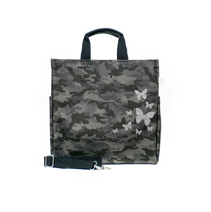 Black Camo Luxe North South Bag with Silver Glitter Scatter Butterflies