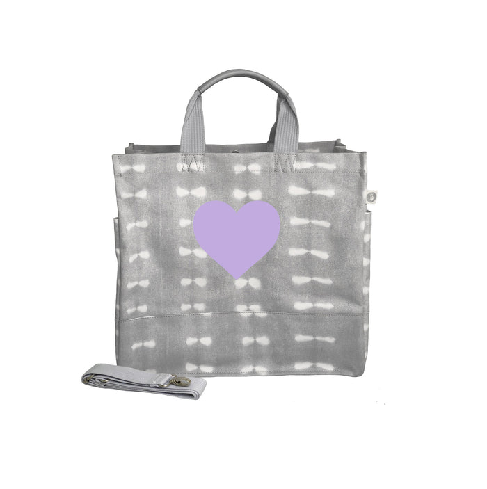 Grey Shibori Luxe North South Bag with Lavender Matte Heart