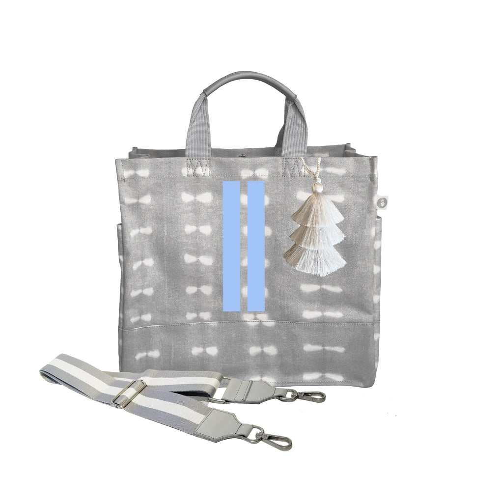 Grey Shibori Luxe North South Bag with Light Blue Matte Double Stripes