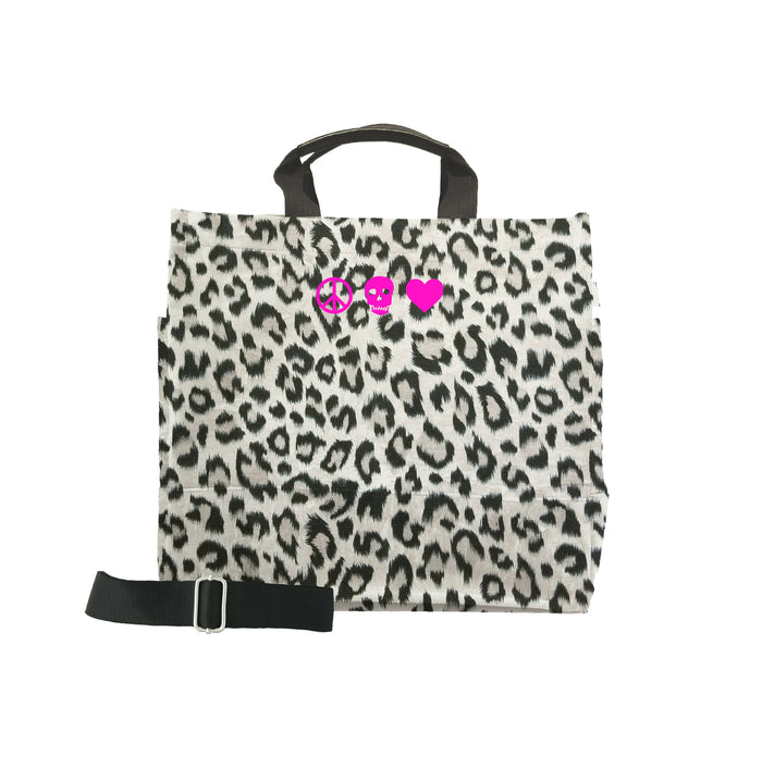 Luxe North South: Leopard with Pink Micro Peace, Skull, Heart