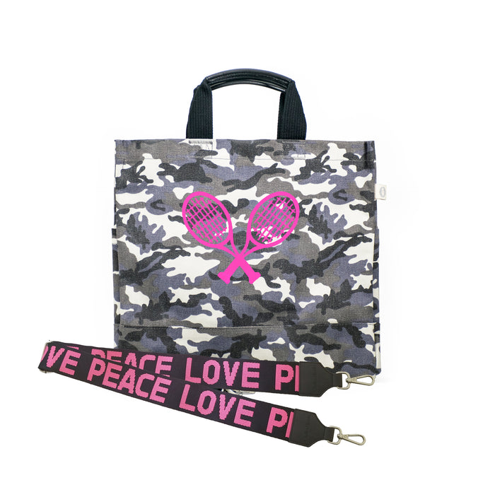 Grey Camo Luxe North South Bag with Neon Pink Tennis Racquets & PEACE/LOVE Strap Crossbody