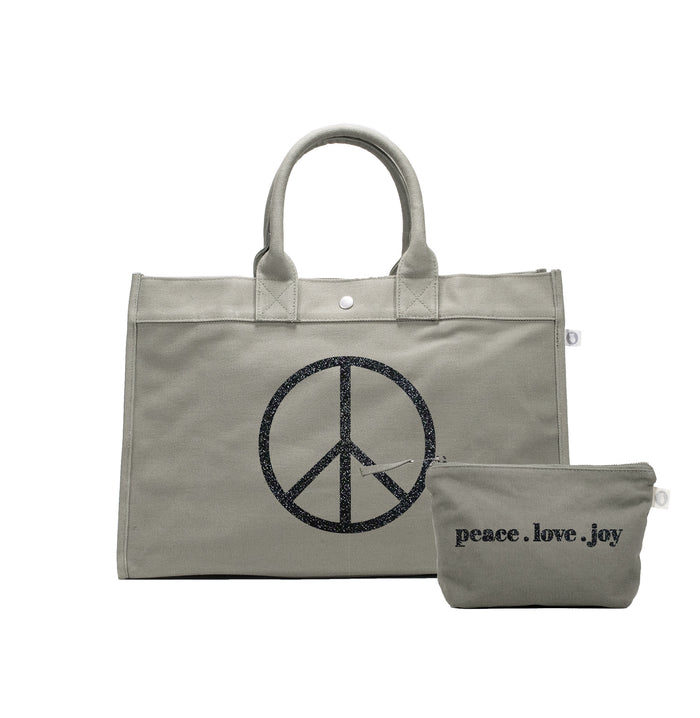 Olive East West Bag with Black Glitter Jumbo Peace Sign + FREE Makeup Bag with Black Glitter Peace.Love.Joy ($240 value for only $184 with code: GIFT184)