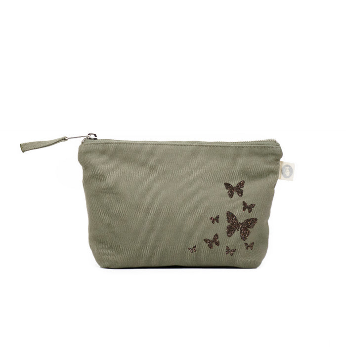Makeup Bag Olive with Chocolate Glitter Scatter Butterflies