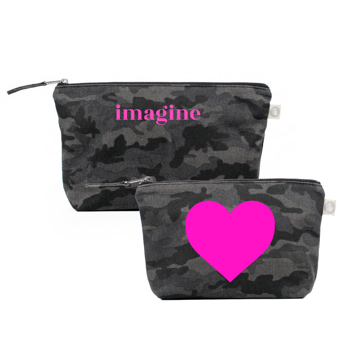 Black Camo Clutch & Makeup Bag Bundle Neon Pink Imagine + Heart