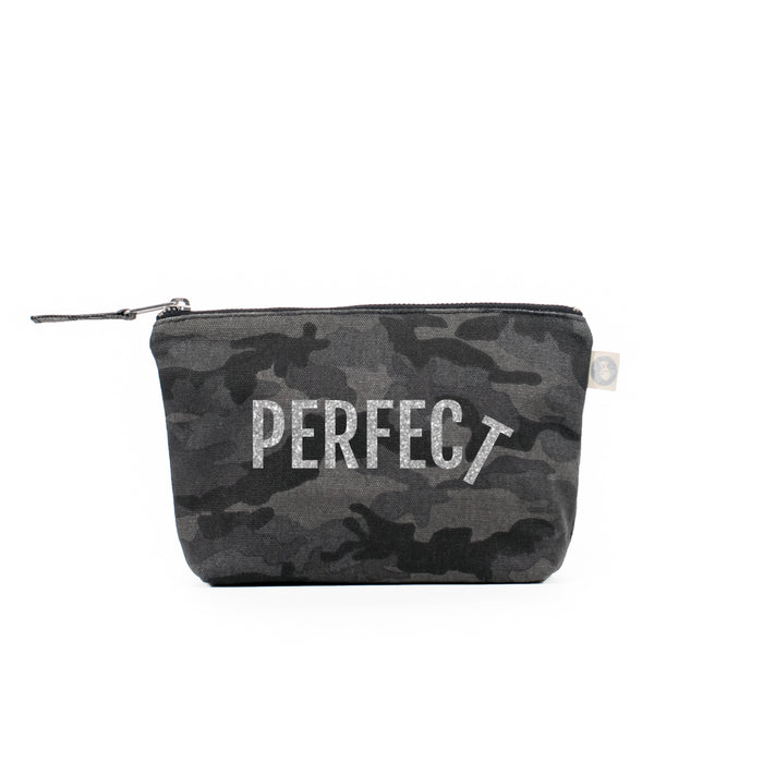 Makeup Bag Black Camo with Silver Glitter PERFECT