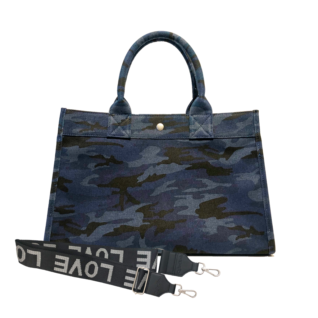 Midi East West Bag: Dark Blue Camouflage