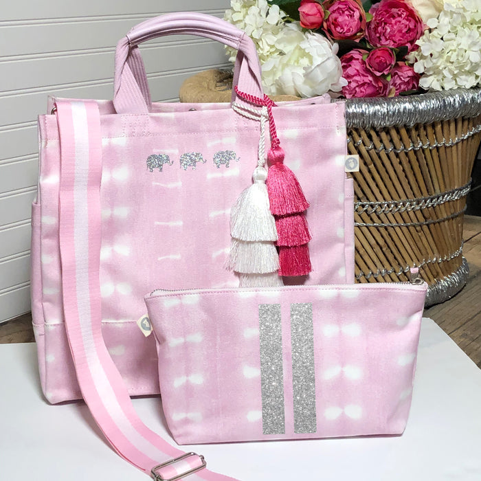 Pink Shibori Luxe North South Bag with Silver Glitter 3 Mini Elephants