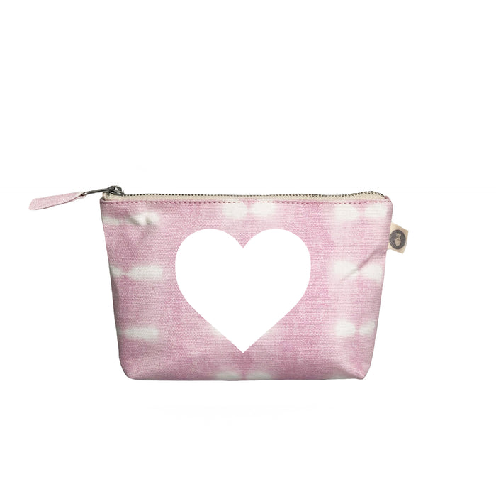 Makeup Bag: Pink Shibori with White Matte Heart