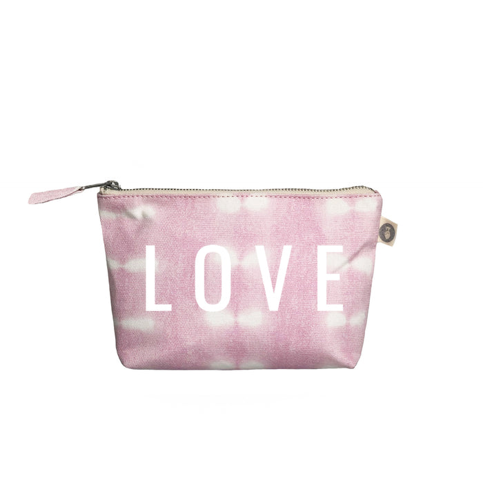 Makeup Bag: Pink Shibori with White Matte LOVE