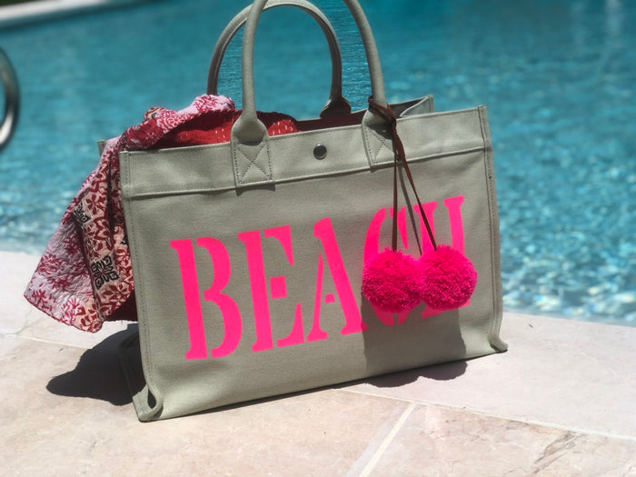 East West Bag: Seaglass Green with Neon Pink BEACH