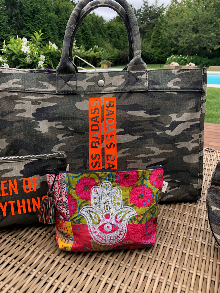 East-West Bag Green Camouflage with BADASS Word Stripe in Neon Orange