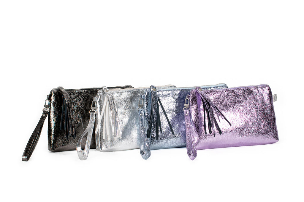 Mini Luxe Metallic Clutch with Wristlet: Silver