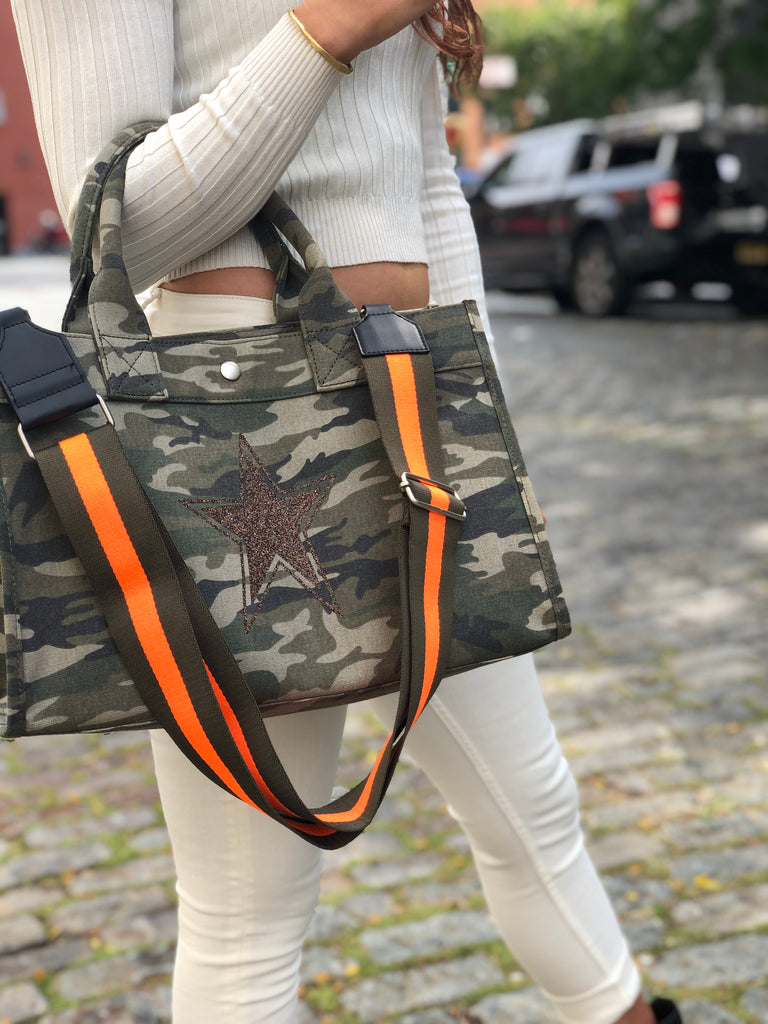 Midi East West Bag: Green Camouflage with Chocolate Glitter Star & Olive/Orange Stripe Strap