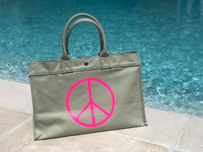 East West Bag: Seaglass Green with Neon Pink Peace Sign
