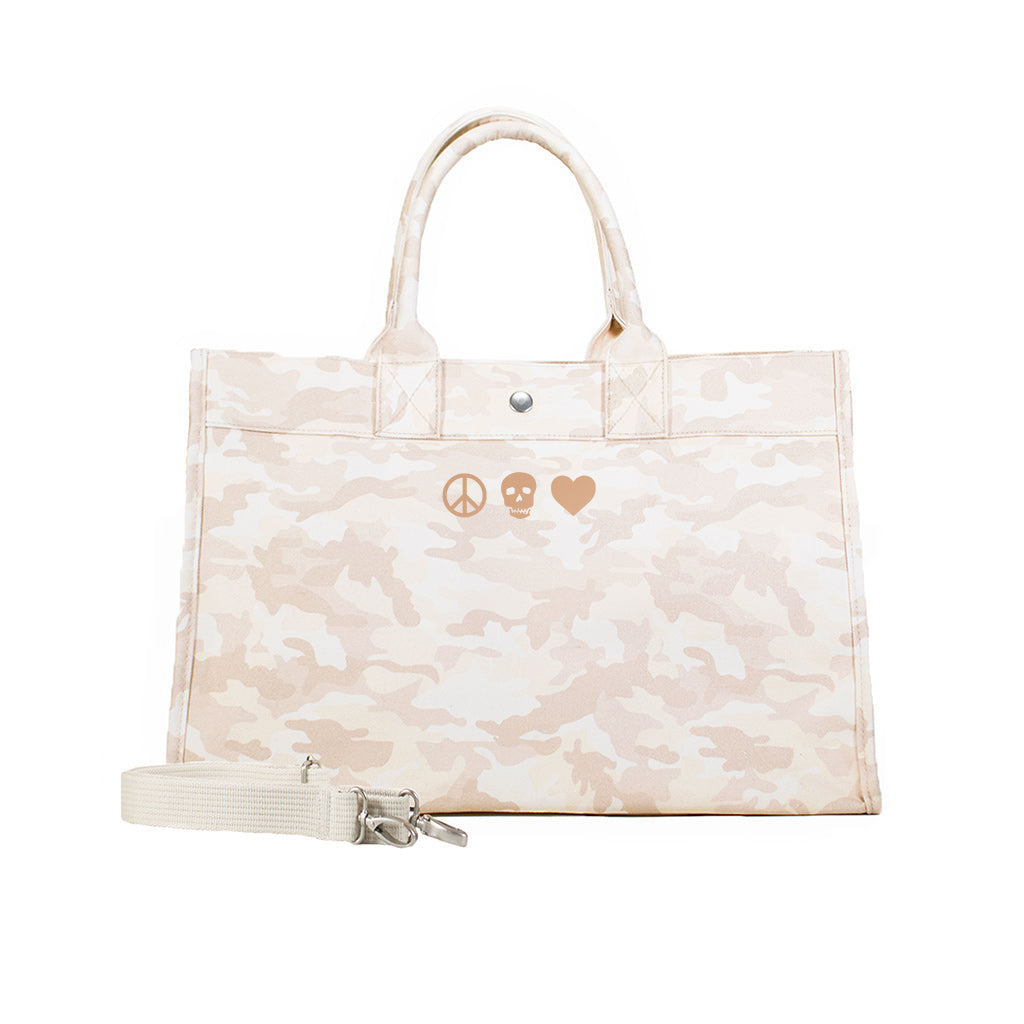 Midi East West Bag: Blush Camouflage with Rose Gold Mini Peace/Skull/Heart