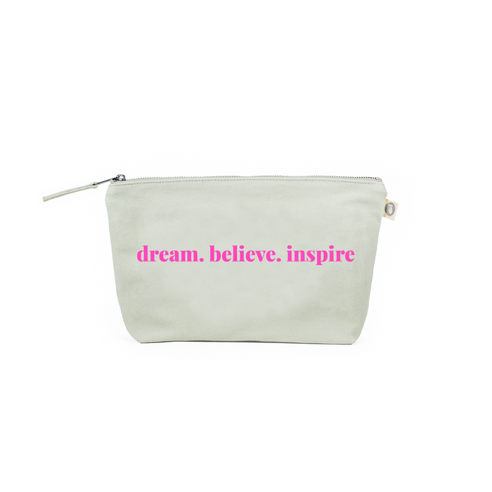 Clutch Bag: Seaglass Green with Neon Pink dream.believe.inspire