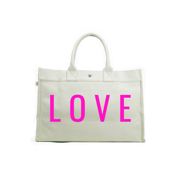Love Collection: East-West Bag Seaglass Green Neon Pink LOVE