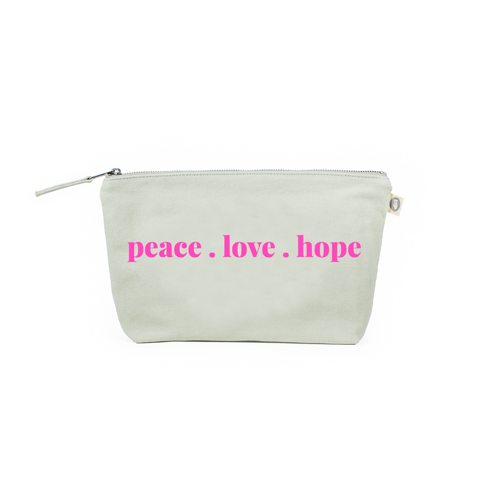 LOVE Collection: Clutch Bag Seaglass with Neon Pink Matte Peace. Love. Hope