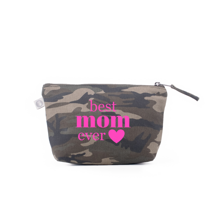 Best Mom Ever: Makeup Bag Green Camo with Pink Neon