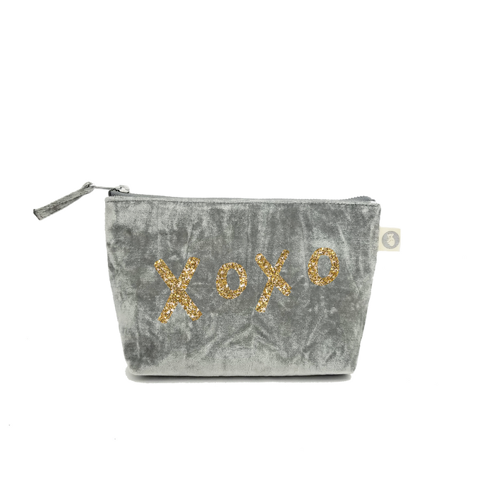 Makeup Bag: Grey Crushed Velvet with Gold Glitter XOXO