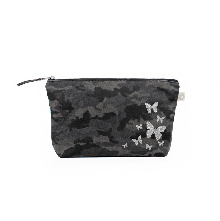 Clutch Bag Black Camo with Silver Glitter Scatter Butterflies
