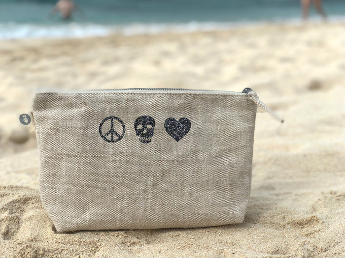 Makeup Bag: Flax with Black Glitter Peace Skull Heart