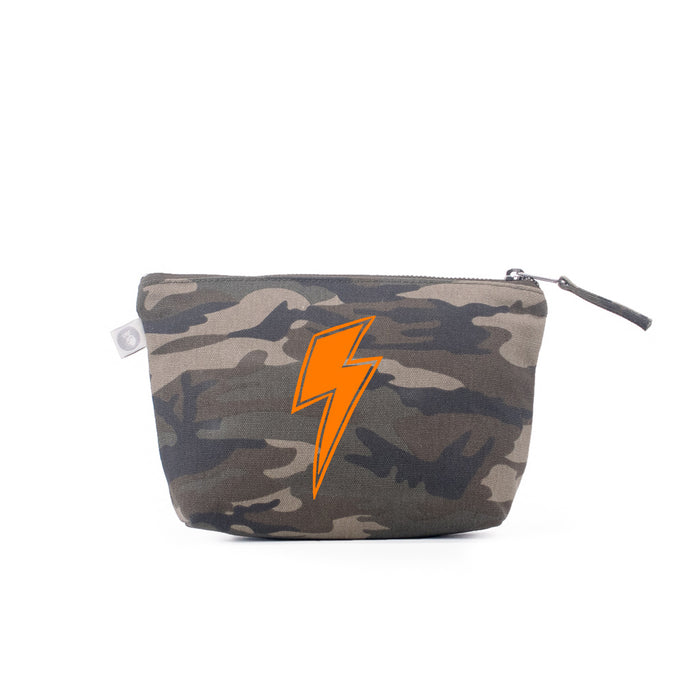 Makeup Bag Green Camo with Neon Orange Lightning Bolt