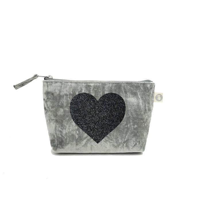 Makeup Bag: Grey Crushed Velvet with Black Glitter Heart