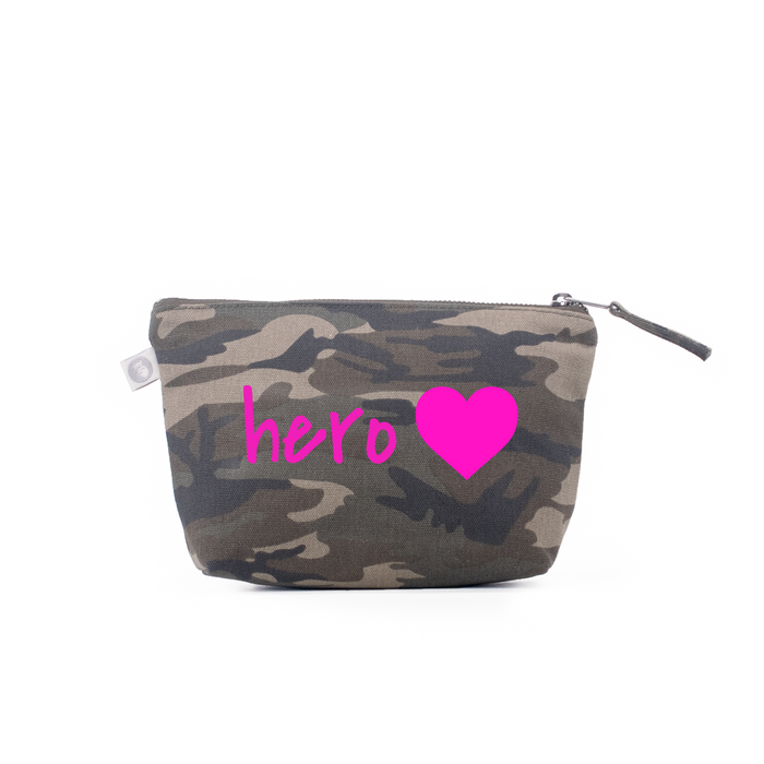 For the Heroes: Green Camouflage Makeup Bag - Pink Matte Hero Heart