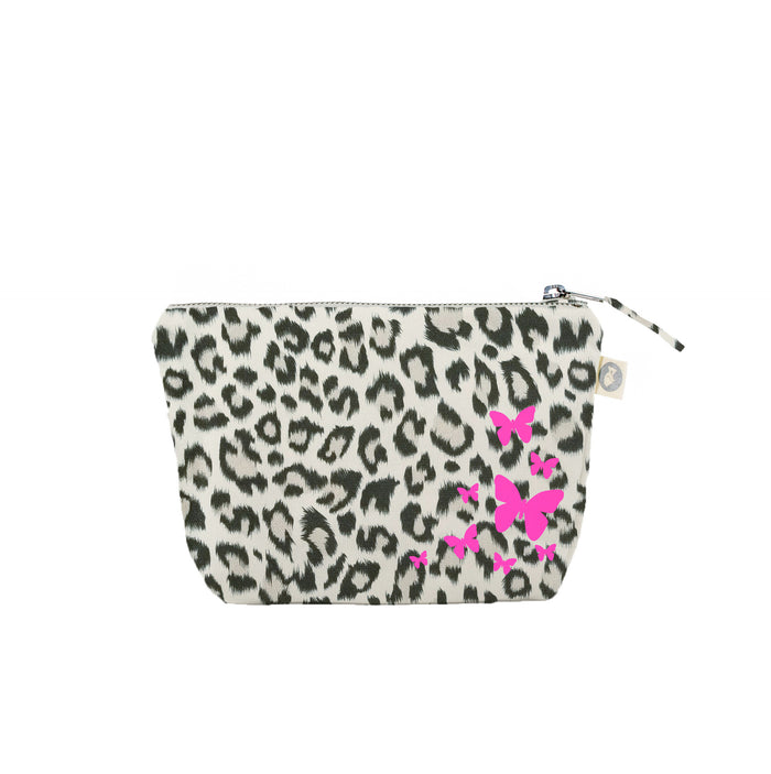 Makeup Bag Leopard with Neon Pink Scatter Butterflies