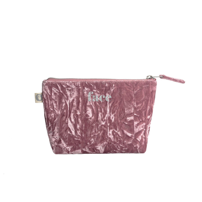 Makeup Bag in Petal Pink Crushed Velvet with Silver Glitter Face
