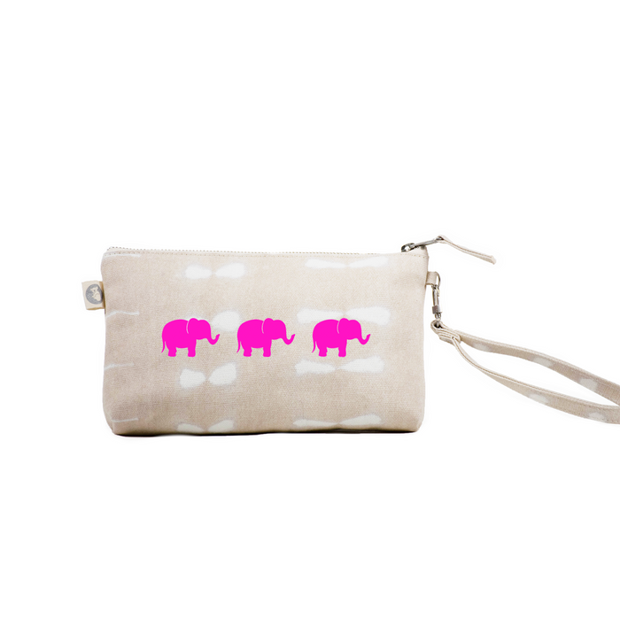 Mini Luxe Clutch with Wristlet: Stone Shibori with Neon Pink 3 Elephants