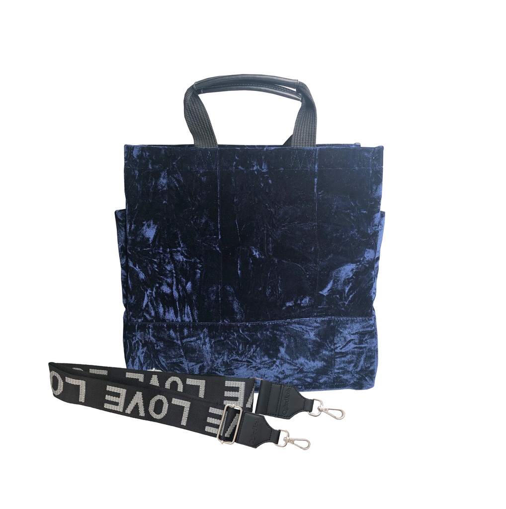 Luxe North South: Midnight Blue Crushed Velvet