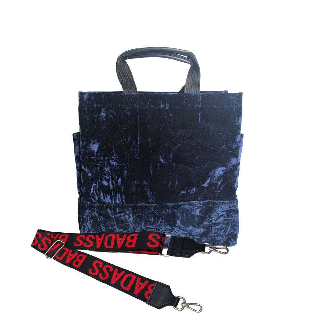 Monogram Stripe Luxe North South: Midnight Blue Crushed Velvet