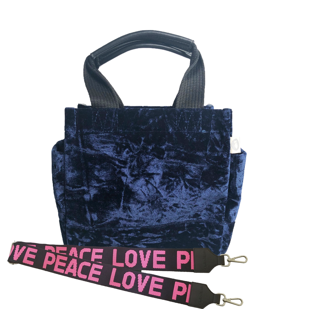 Mini Luxe North South: Midnight Blue Crushed Velvet