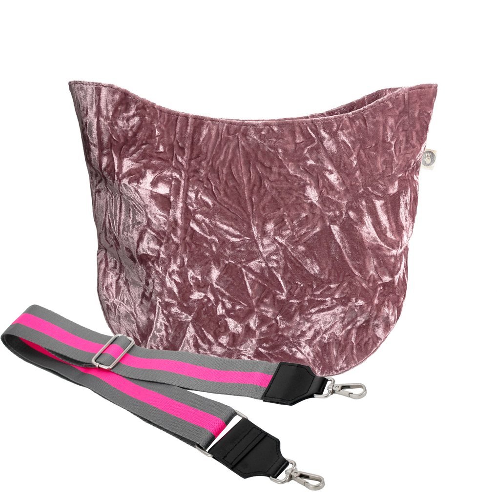 Monogram Stripe City Bag Petal Pink Crushed Velvet