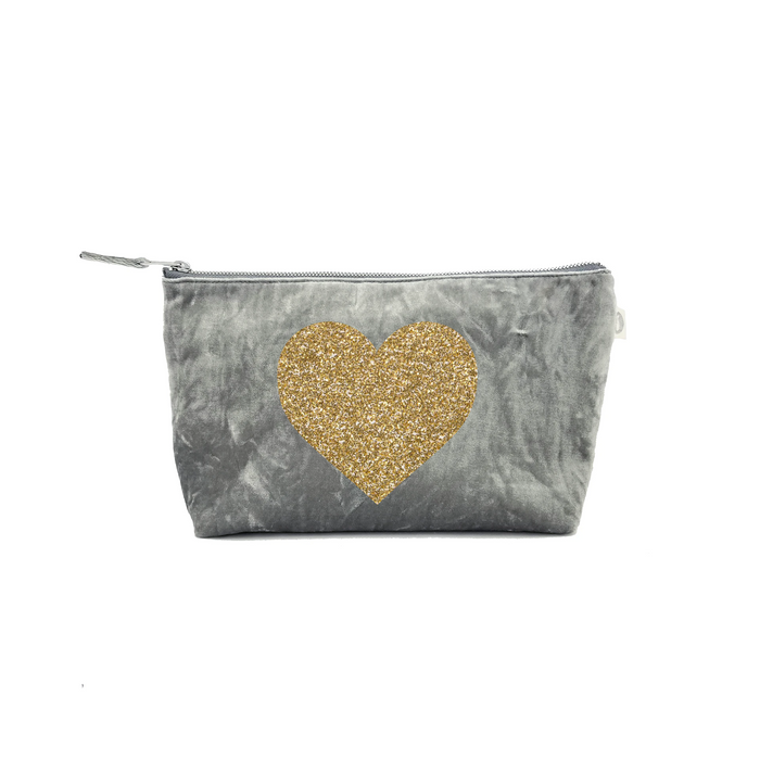 Clutch Bag: Grey Crushed Velvet with Gold Glitter Heart