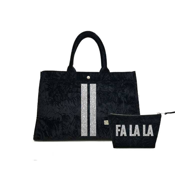Black Crushed Velvet East West Bag with Silver Glitter Double Stripe + FREE Makeup Bag with Silver Glitter FA LA LA ($240 value for only $184 with code: GIFT184)