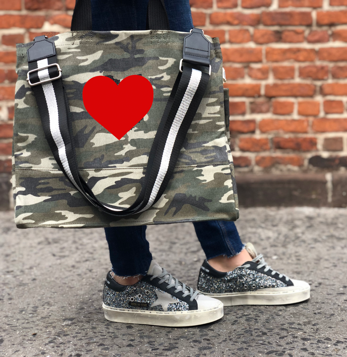 Green Camo Luxe North South Bag with Red Matte Heart and Silver/Black Stripe Strap