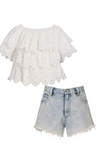 Eyelet Ruffle Tiered Top & Daisy Shorts