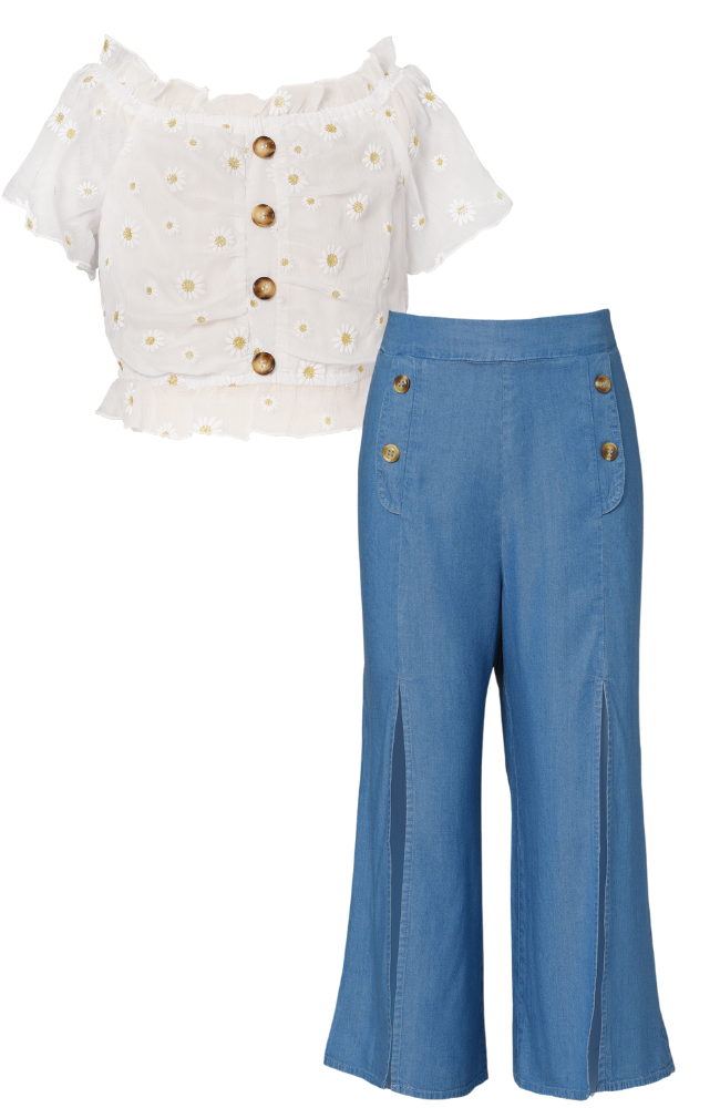 Daisy Off-Shoulder Top & Chambray Pants