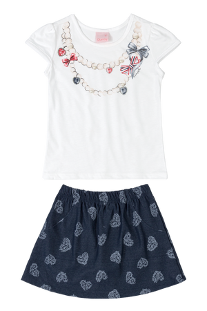 Necklaces Print Tee & Skort