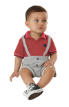 Red Polo Bodysuit & Shorts with Suspenders