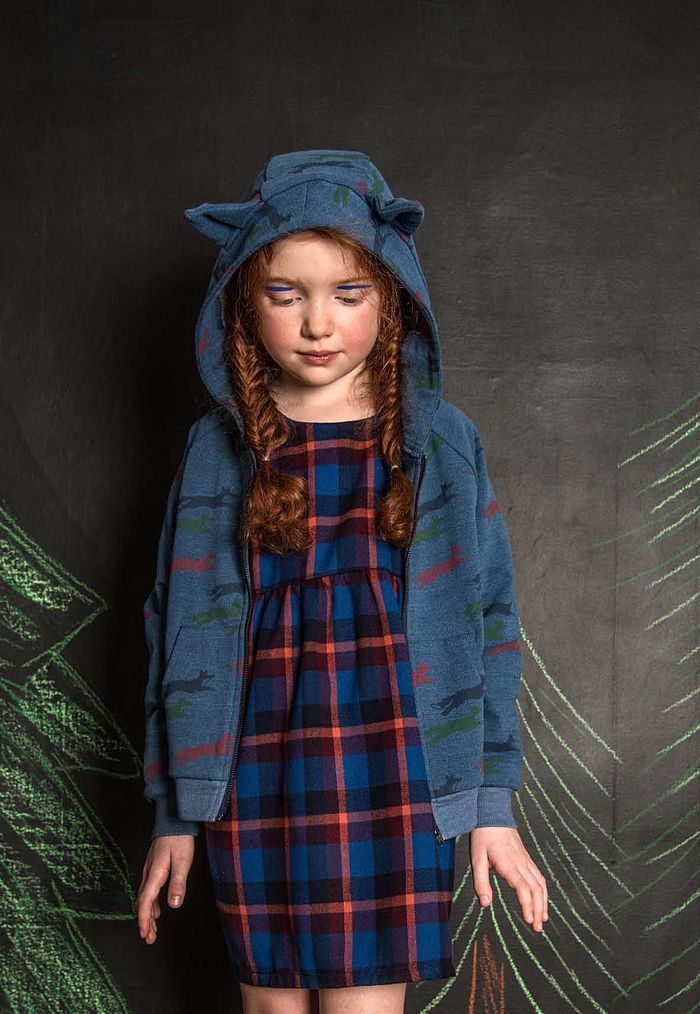 Isa Plaid Dress with Fox Ear Sweater