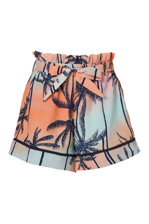 Ombre Twisted Top & Sunset Palm Tree Shorts