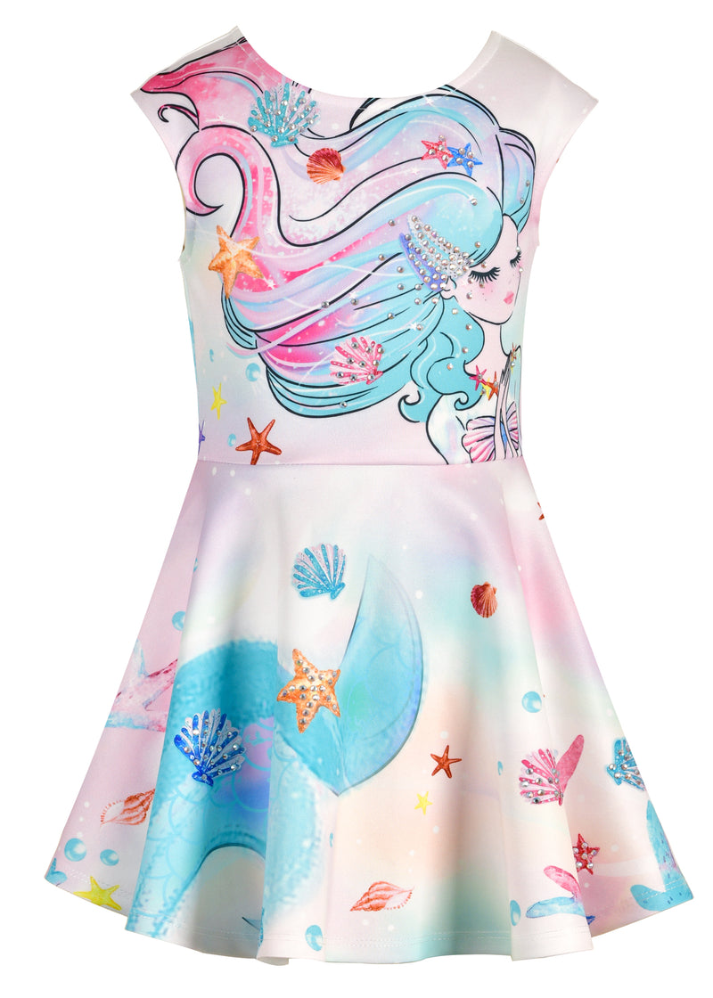 Watercolor Mermaid Skater Dress