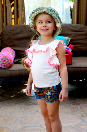 Ruffle Tassel Top & Embroidered Shorts