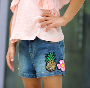 Coral Ruffle Tee & Patches Shorts