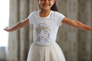 Gold Butterfly Crown Tee & Ivory Tutu